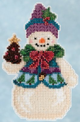 Pinecone Snowman - click here for more details about counted cross stitch kit