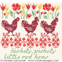 click here to view larger image of Hickety Pickety - Three Red Hens! (chart)