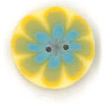 click here to view larger image of Blue Poppy on Yellow Button (buttons)