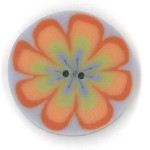 click here to view larger image of Orange Poppy on Purple Button (buttons)