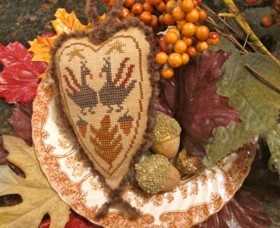 click here to view larger image of Turkey Love - Country Spirits Collection (chart with charms/buttons)