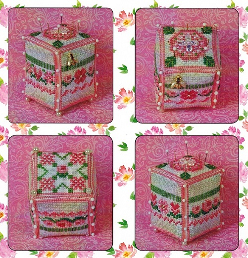 click here to view larger image of Bee Rosy Pin Cube (Limited Quantity) EXCLUSIVE TO ABC STITCH THERAPY (counted cross stitch kit)