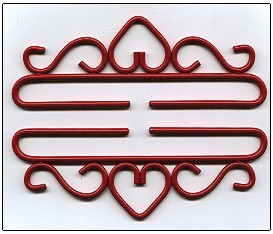 click here to view larger image of Wrought Iron Bellpull with Heart - Red Finish (accessory)
