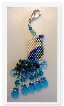 click here to view larger image of Prissy Peacock Fob (counted cross stitch kit)
