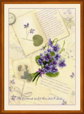 click here to view larger image of Love Letters - Violet (counted cross stitch kit)