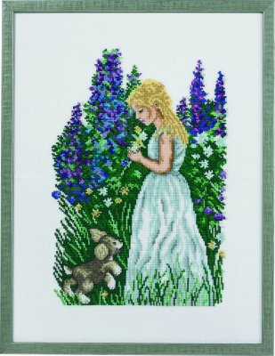 click here to view larger image of Girl With Puppy - Linen (counted cross stitch kit)