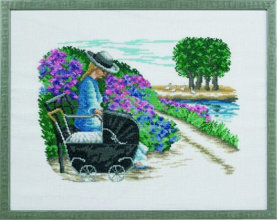 click here to view larger image of Girl With Pram - Linen (counted cross stitch kit)