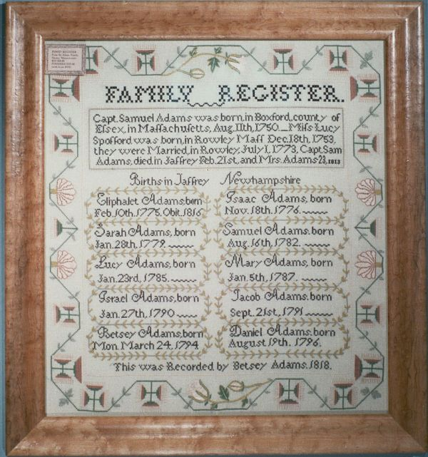 click here to view larger image of Family Register - Silk Kit (counted cross stitch kit)