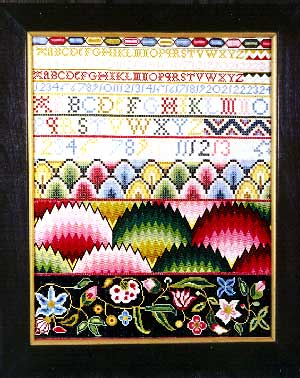 click here to view larger image of A Flamestitch Sampler Circa 1760 - Silk Kit (counted cross stitch kit)