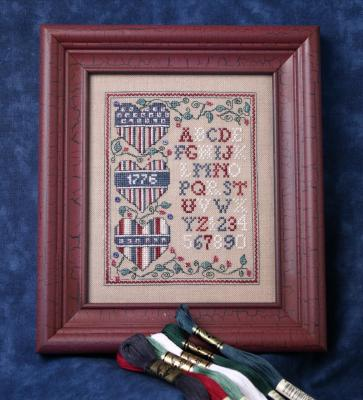 click here to view larger image of Patriotic Heart Trio Sampler (counted cross stitch kit)