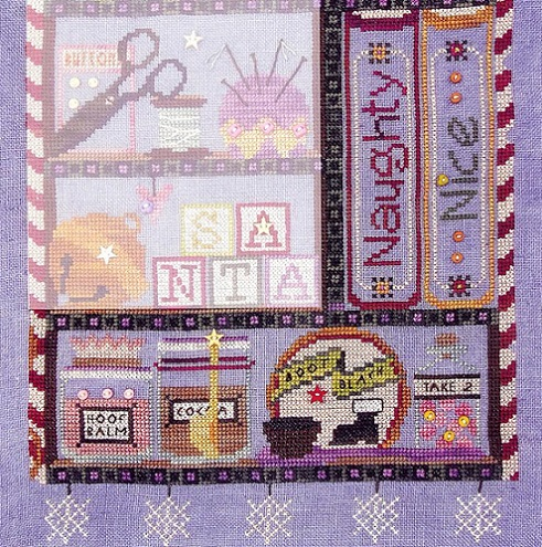 click here to view larger image of Santas Cabinet - Naughty or Nice (includes embellishments) (chart with charms/buttons)