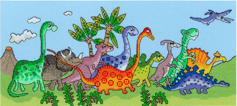 click here to view larger image of Dinosaur Fun - Julia Rigby (counted cross stitch kit)