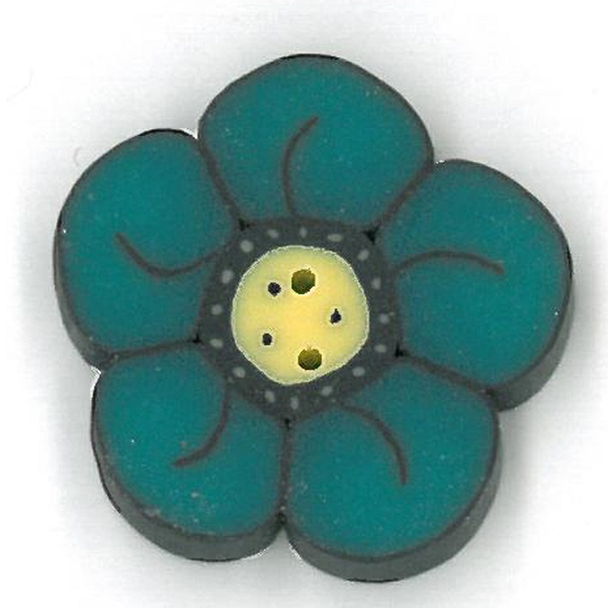 click here to view larger image of Small Teal Wildflower - Crayon Box Collection (buttons)