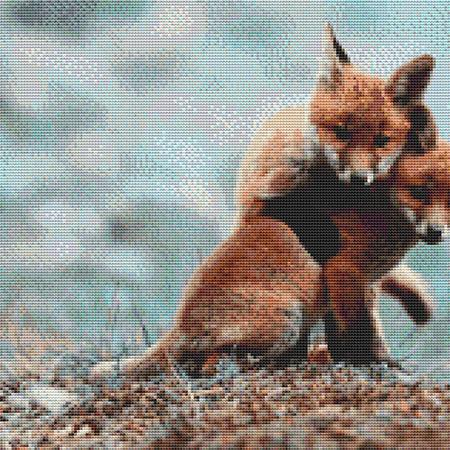 click here to view larger image of Two Cuddling Foxes (chart)