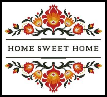 Home Sweet Home - Polish Folk Art Design 1 - click here for more details about chart