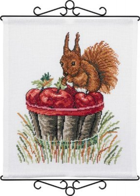 click here to view larger image of Squirrel and Apples (counted cross stitch kit)