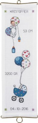 click here to view larger image of Boy Birth Announcement Bellpull (counted cross stitch kit)