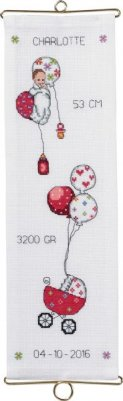 click here to view larger image of Girl Birth Announcement Bellpull (counted cross stitch kit)