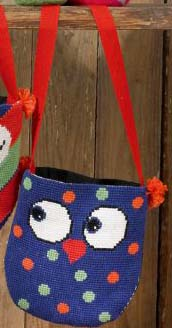 click here to view larger image of Owls Bag - Dots (counted cross stitch kit)