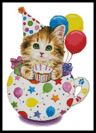 click here to view larger image of Birthday Kitty Cup  (Kayomi Harai) (chart)