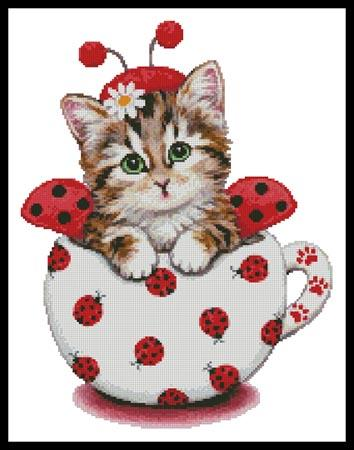 click here to view larger image of Ladybug Kitty Cup  (Kayomi Harai) (chart)
