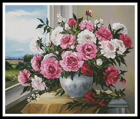 click here to view larger image of Peonies In The Window  (Anca Bulgaru) (chart)