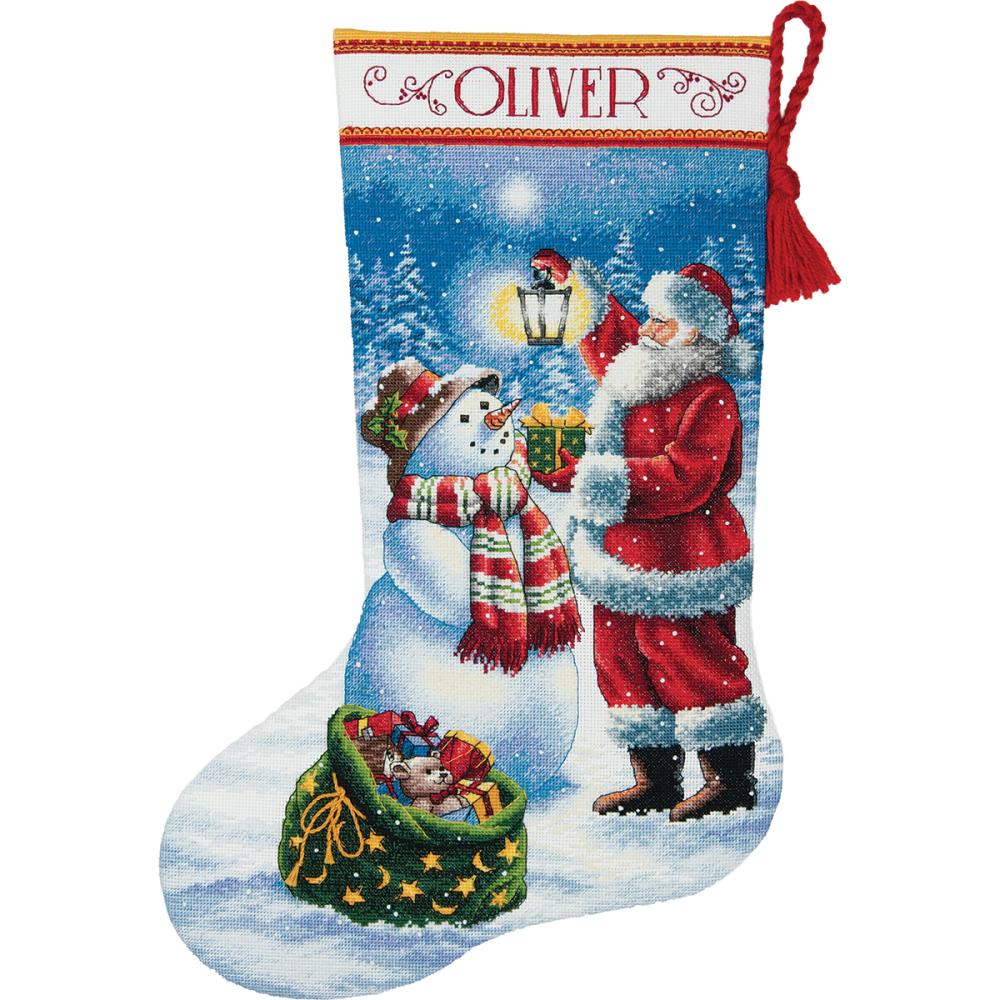 click here to view larger image of Holiday Glow Stocking Dimensions Gold (counted cross stitch kit)