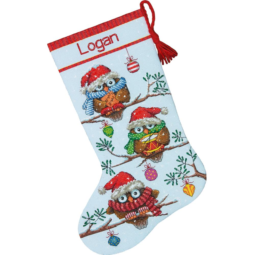 click here to view larger image of Holiday Hooties Stocking (counted cross stitch kit)