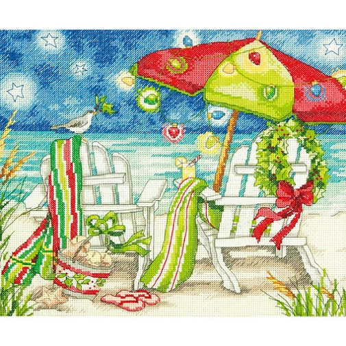 click here to view larger image of Christmas Beach Chairs (counted cross stitch kit)
