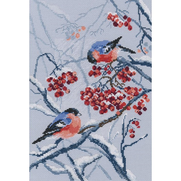 click here to view larger image of Bullfinches in Rowanberries (counted cross stitch kit)