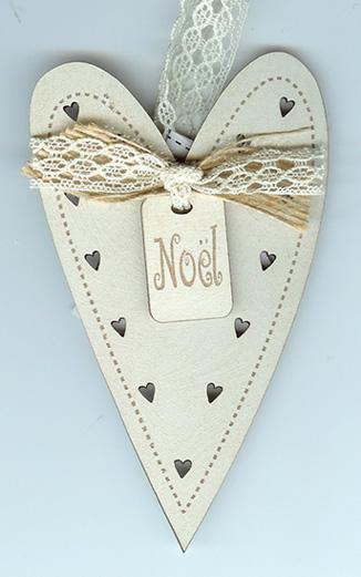 click here to view larger image of Cream Christmas Heart Ornament (accessory)