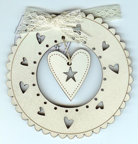 click here to view larger image of Cream Christmas Wreath and Heart Ornament (accessory)