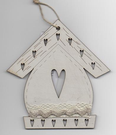 click here to view larger image of Cream Christmas Birdhouse Ornament (accessory)