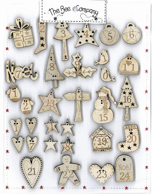 click here to view larger image of Cream Advent Calendar Buttons (buttons)