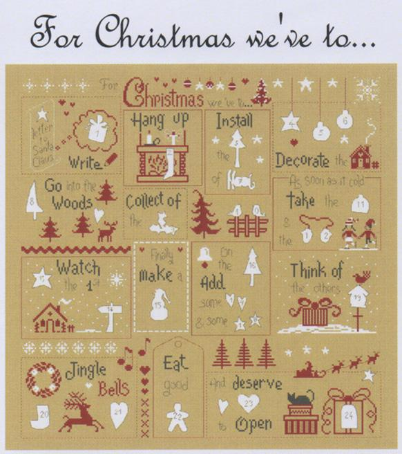 click here to view larger image of Advent Calendar Pattern and Cream Buttons (chart with charms/buttons)