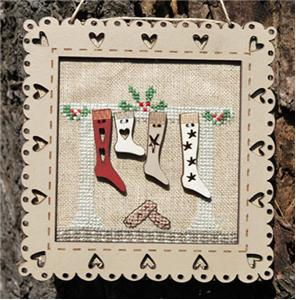 click here to view larger image of Christmas Socks - Pattern, Frame, and Buttons (chart with charms/buttons)