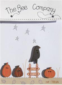 click here to view larger image of Pumpkins and Crow - Autumn Buttons (buttons)