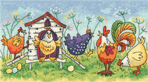 click here to view larger image of Happy Hens - Birds of a Feather (27ct) (counted cross stitch kit)