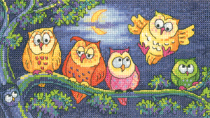 click here to view larger image of A Hoot of Owls - Birds of a Feather (27ct) (counted cross stitch kit)