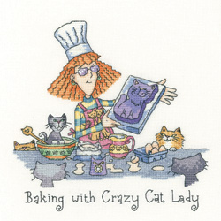 click here to view larger image of Baking With Crazy Cat Lady - Cats Rule (Aida) (counted cross stitch kit)