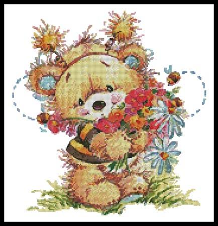 click here to view larger image of Teddy Bee With Flowers 2 (chart)