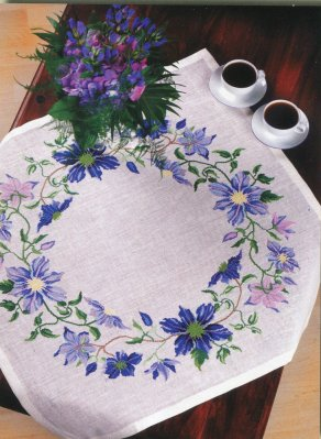 click here to view larger image of Blue Clematis - Table Topper (counted cross stitch kit)