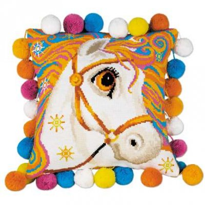 click here to view larger image of Goldrinn Horse Cushion (counted cross stitch kit)