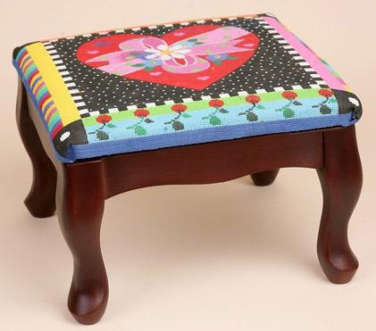 click here to view larger image of Classic Footstool - 12in x 12in - Mahogany (stitchable)