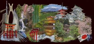 click here to view larger image of Japan - 18ct Black Aida (counted cross stitch kit)