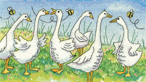 click here to view larger image of Gossiping Geese - Birds of A Feather - Aida (counted cross stitch kit)