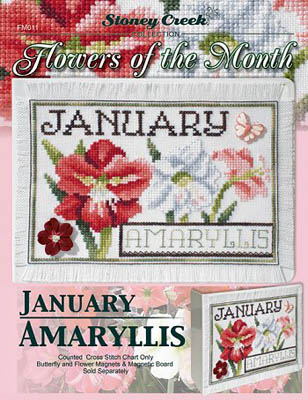 Flowers of the Month - January Amaryllis - click here for more details about chart