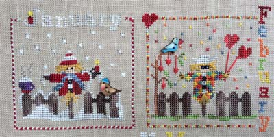 click here to view larger image of A Year With The Scarecrows - January and February (chart with charms/buttons)