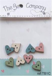 click here to view larger image of 8 Mini Assorted Heart Buttons - Blue (buttons)
