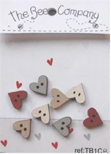 click here to view larger image of 8 Mini Assorted Heart Buttons - Red (buttons)